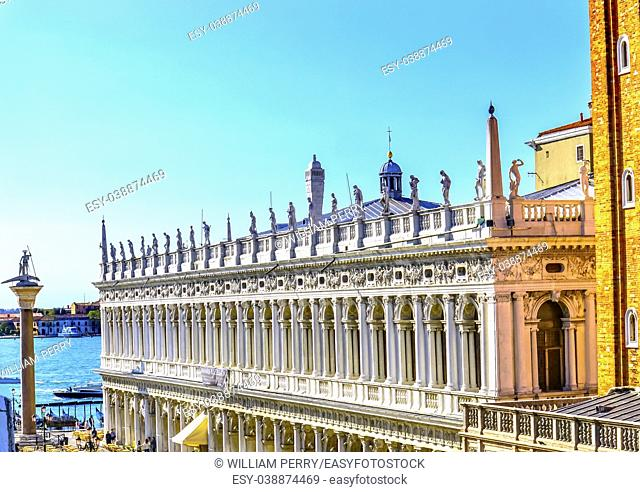 Procuratie Nuove Grand Canal Piazza San Marco Saint Mark's Square Venice Italy. Famous Entrance to Saint Mark's Square. Built 1586
