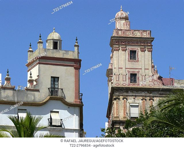 Cadiz (Spain). Architectural detail of the House of the four towers in the city of Cadiz