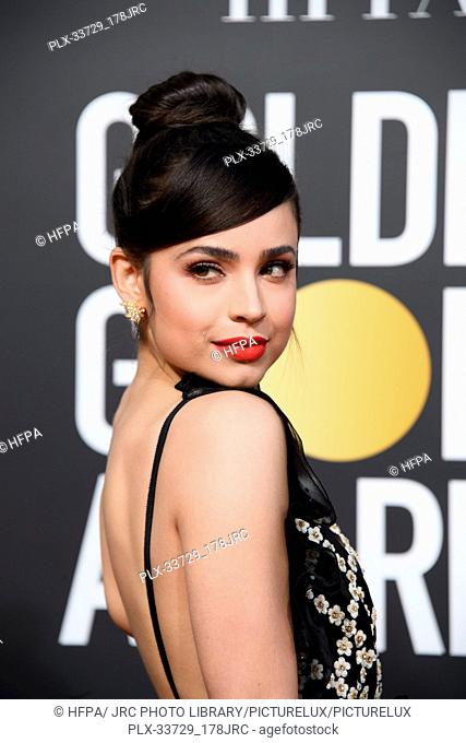 Sofia Carson attends the 76th Annual Golden Globe Awards at the Beverly Hilton in Beverly Hills, CA on Sunday, January 6, 2019
