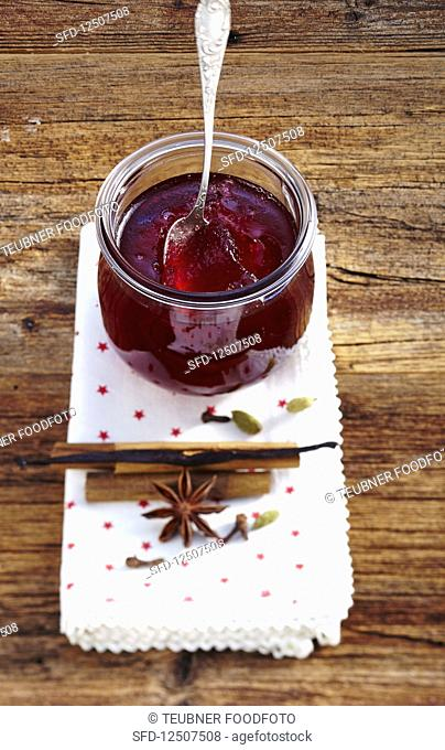 Homemade red wine punch jelly with star anise and cinnamon