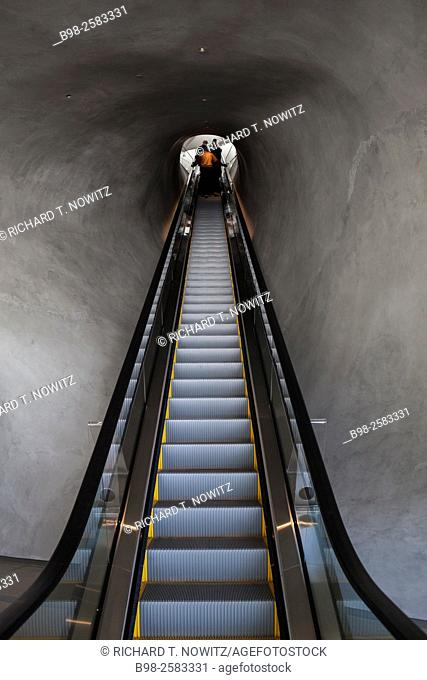The inside up escalator that goes into the Broad Museum in Los Angeles