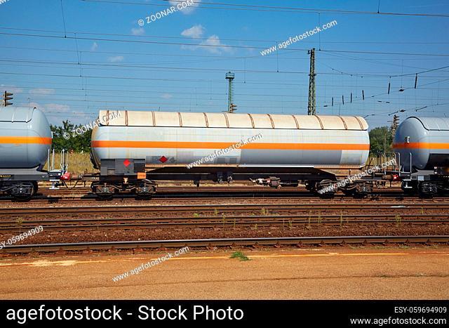 Freight train silo wagons on the railway