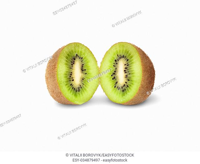 Two Halves Juicy Kiwi Fruit Isolated On White Background