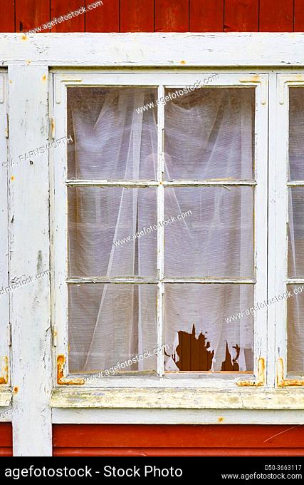 Godegard, Sweden Windows and drapes in an abandoned house