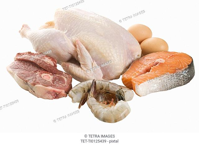 Close up of poultry, beef and seafood