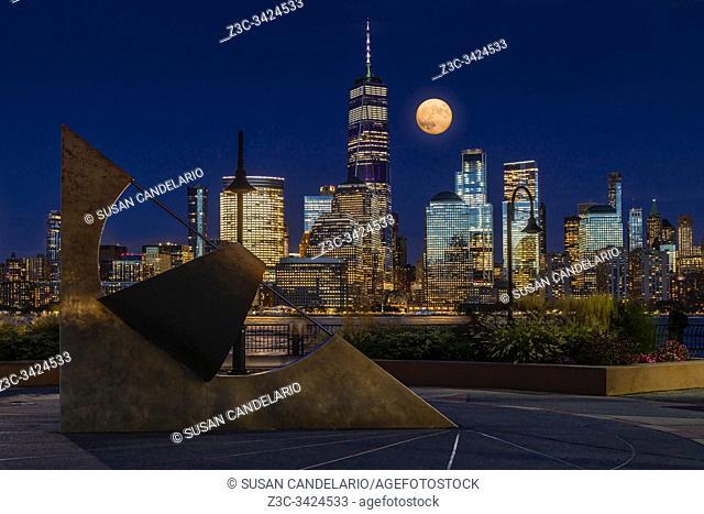 NYC Skyline Harvest Moon