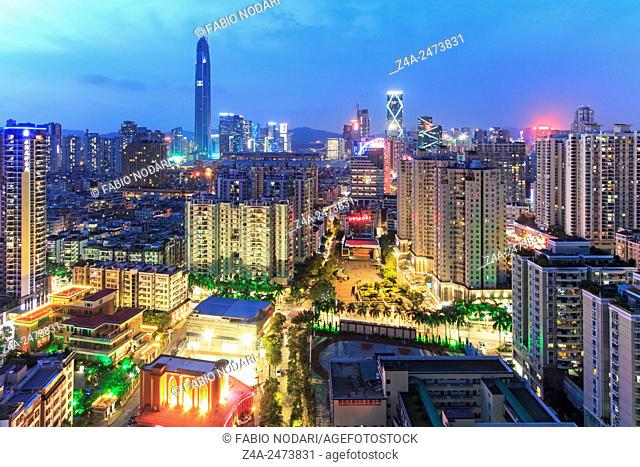 Shenzhen, China - August 19,2015: Shenzhen skyline at twilight with the tallest building of the city on background: the Ping An IFC