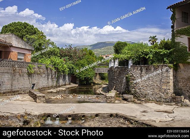 Acebo, beautiful little town in Sierra de Gata, Caceres, Extremadura, Spain. Lagina stream running down