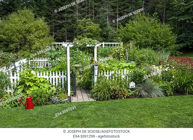 A fenced vegetable garden with borders of perennial plants in beds in the foreground