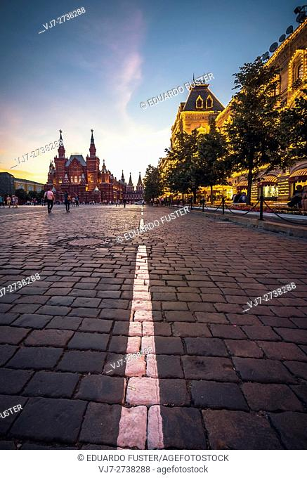 Nikolskaya Tower, GUM and the National Museum of History (Red Square, Moscow)