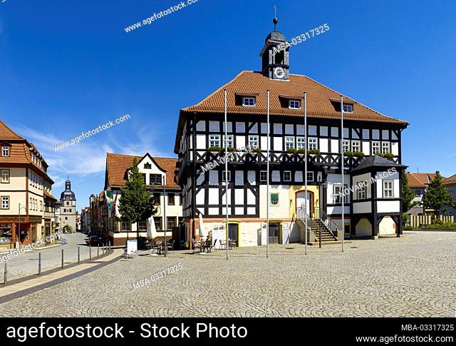 Market with half-timbered town hall and city gate in Waltershausen, Thuringia, Germany