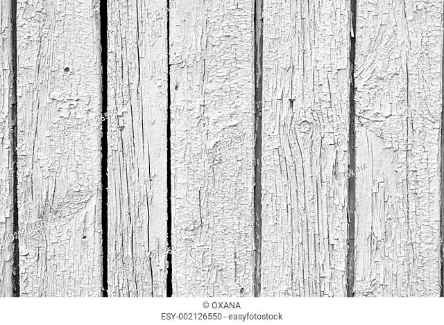 The olden vintage weathered white wooden plank