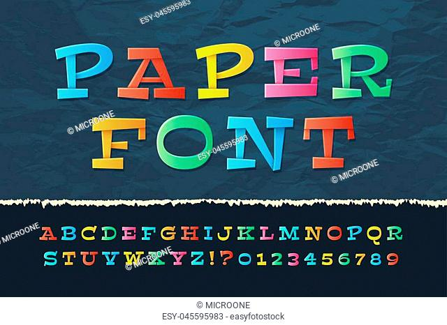 Color paper alphabet. Funny cartoon holiday font. School kids vector letters and numbers. Illustration of paper abc and numeral classic origami