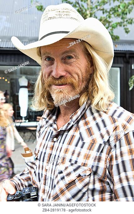 Portrait of a local man in Laugavegur Street, the primary commercial artery of downtown Reykjav'k, Iceland
