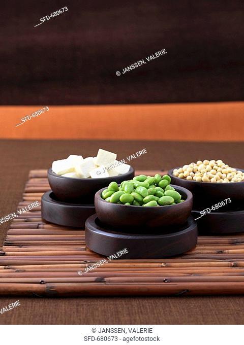 Edamame young green soya beans, soya beans, tofu