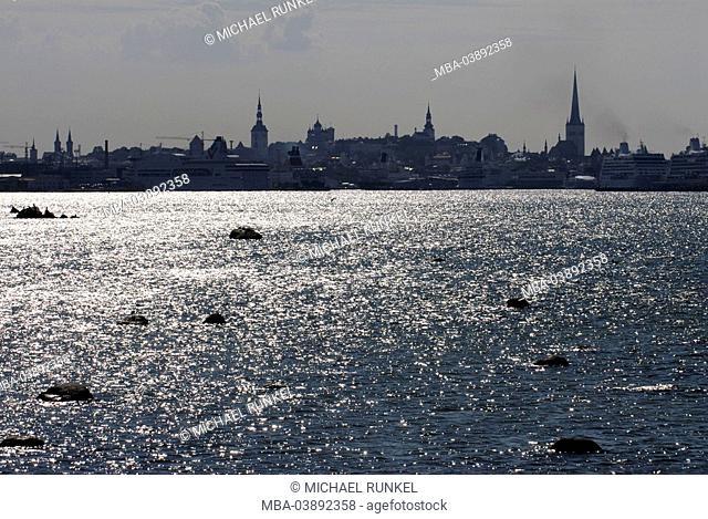 Estonia, Tallinn, city view, twilight, Baltikum, capital, waters, Baltic Sea