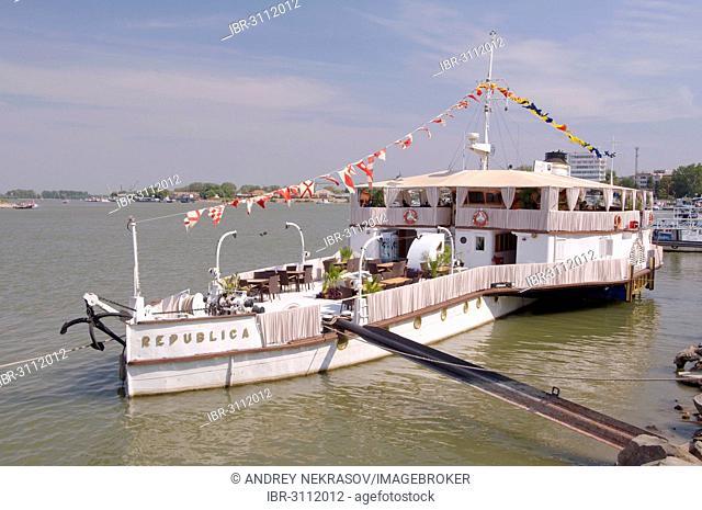 Pleasure boat on the Danube river, Tulcea, Tulcea County, Romania