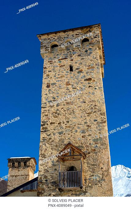 Tower-houses in Mestia, Upper Svaneti, Georgie, Transcaucasia