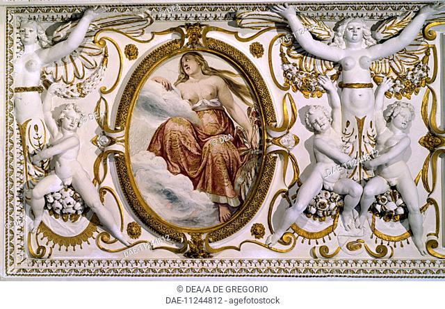 Detail from the decorations of the ceiling in the Hall of Conversation of Villa Lante, Bagnaia by architect Jacopo Barozzi da Vignola