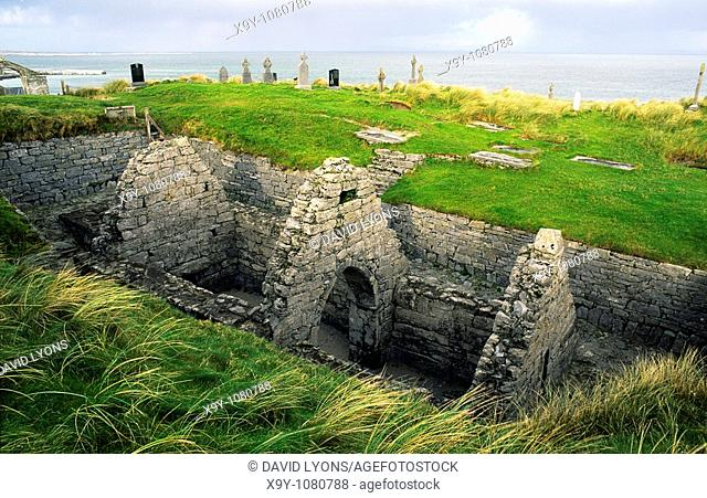 Early Celtic Christian Church of St  Cavan  Now sunk in the sand dunes on the Aran Island of Inisheer, County Galway, Ireland