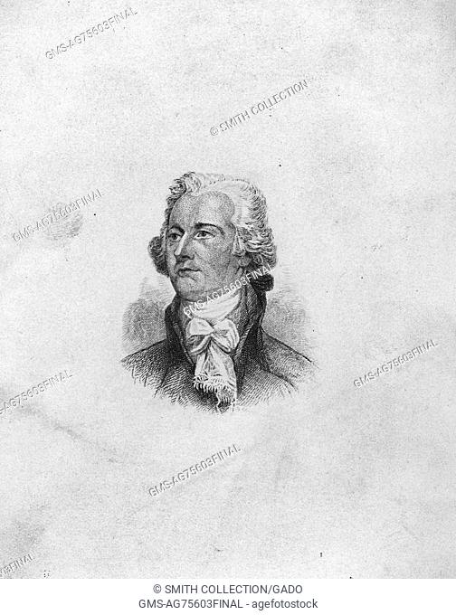 An etching from a portrait of Alexander Hamilton, 1891. From the New York Public Library