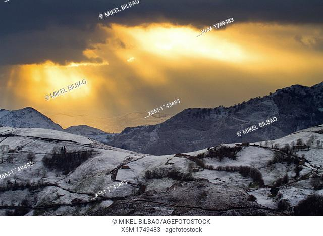 Snow-capped mountains  Alisas port  Cantabria, Spain