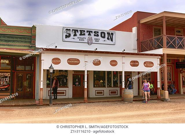 People outside the Stetson store on E Allen St in historic Tombstone, Arizona