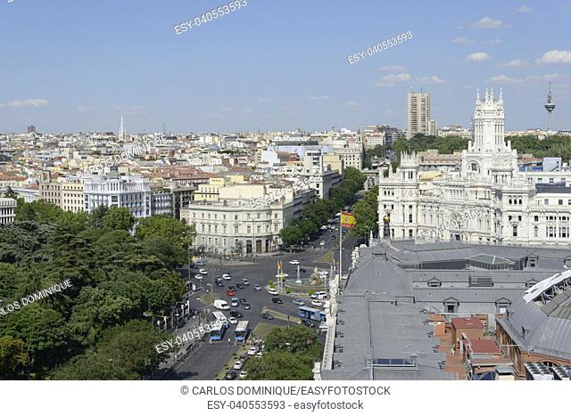 Elevated view of downtown Madrid with famous city hall building