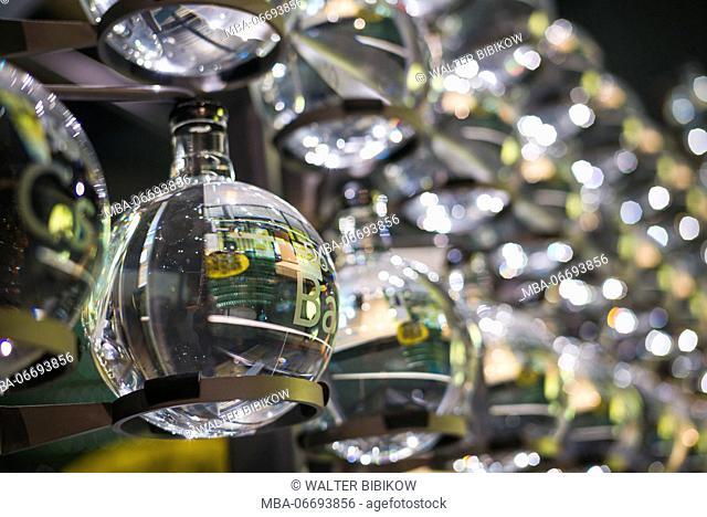 USA, New York, Finger Lakes Region, Corning, Corning Museum of Glass, glass globes representing chemical elements
