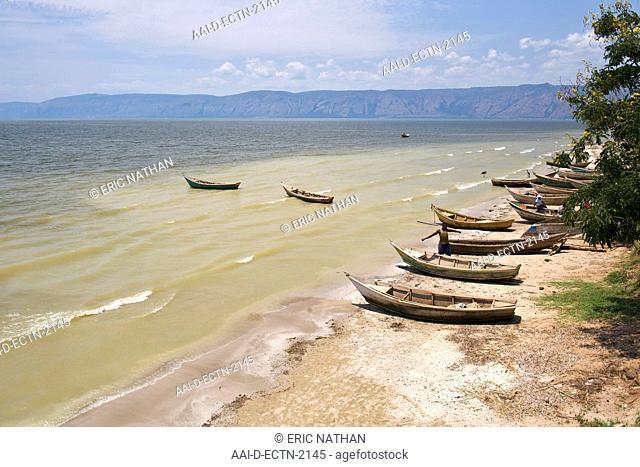 Boats on the shores of Lake Albert in western Uganda
