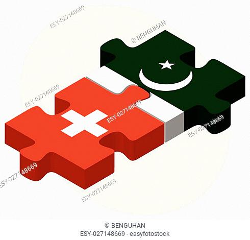 Switzerland and Pakistan Flags in puzzle isolated on white background