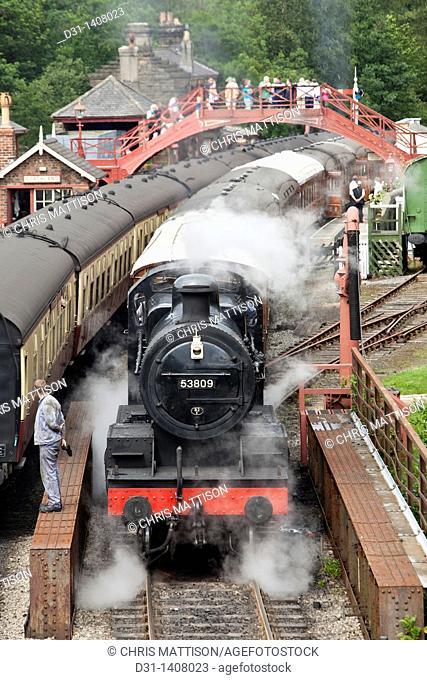 Locomotive 53809, Class 7F, at Goathland Station, North Yorkshire Moors Railway