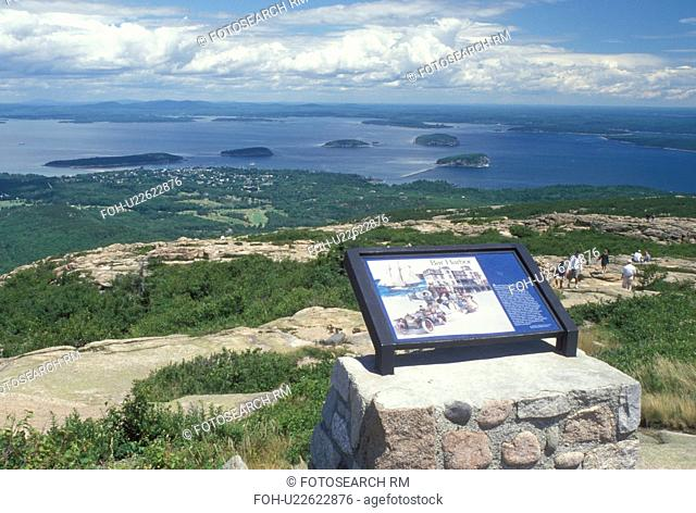 Acadia National Park, ME, Maine, Mount Desert Island, Cadillac Mt Aerial view of Bar Harbor and Frenchman Bay from Cadillac Mountain in Acadia Nat'l Park on the...