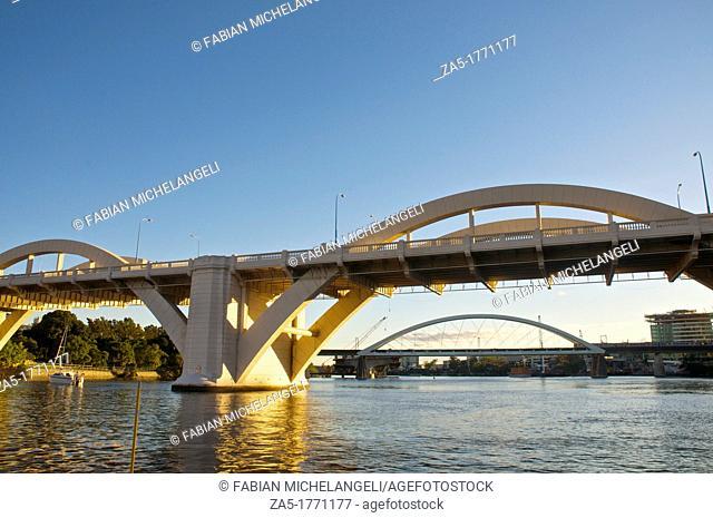 The William Jolly Bridge and the Meryvale Bridge in the Brisbane River, Brisbane, Australia