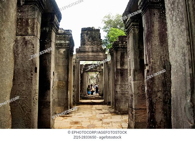 Bayon temple, outer gallery, Angkor Thom , Siem Reap, Cambodia. UNESCO World Heritage Site. Capital city of the Khmer empire built at the end of the 12th...
