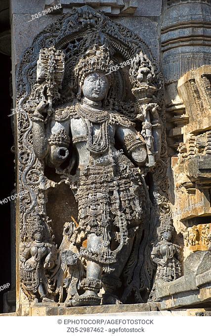 Dwarapala. Hoysalesvara Temple, Halebid, Karnataka, 12th Century. Shiva temple