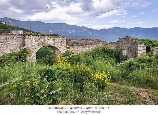 Ruins of 19th century Austrian Mogren Fortress in Budva city on the Adriatic Sea coast in Montenegro