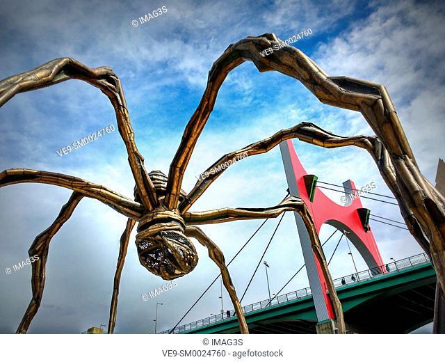 La Salve Bridge by Buren and Spider Sculpture by Elizabeth Bourgeois, Bilbao, Basque Country, Spain