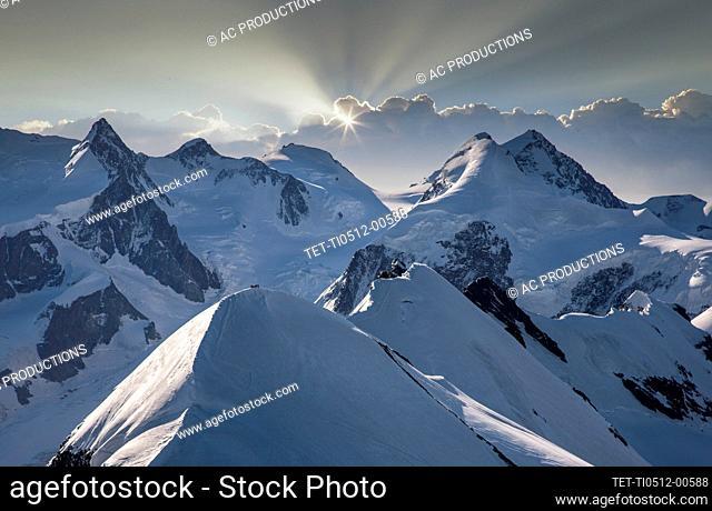 Switzerland, Monte Rosa, Aerial view of Monte Rosa Massif