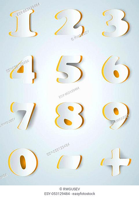 Number icon on the grey background. Abstract illustration