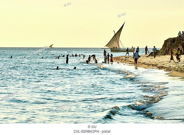 People on beach, Zanzibar City, Zanzibar Urban, Tanzania, Africa