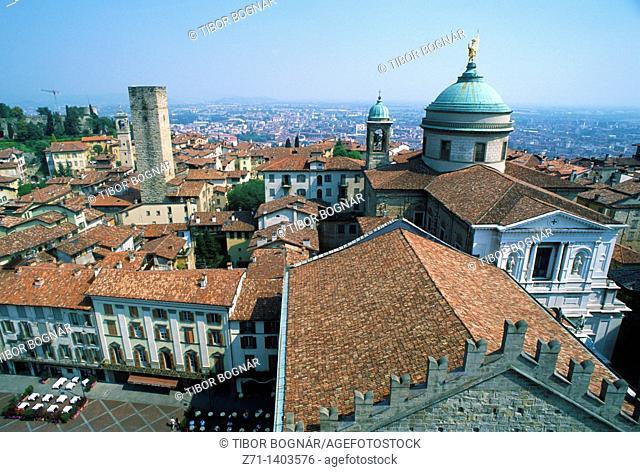 Italy, Lombardy, Bergamo, Citta Alta, general aerial view