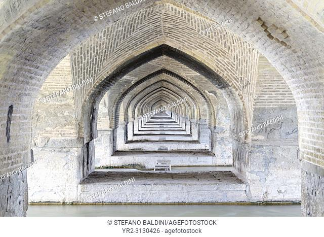 Arches of Pol-e Si-o-Seh bridge, or Si-o-Seh bridge, Esfahan, Iran