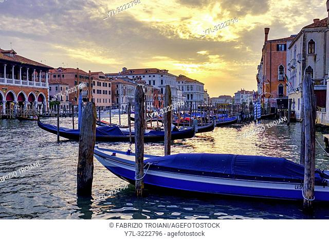 Sunset in Canal Grande, Venice, Italy