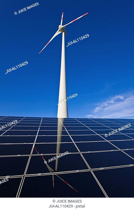 Wind Turbine and Solar Panels, Repperndorf, Bavaria, Germany