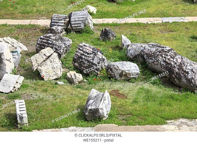 Details of the ruins found at the Trajan's Forum site one of the symbol of the ancient Roman Empire Rome Lazio Italy Europe