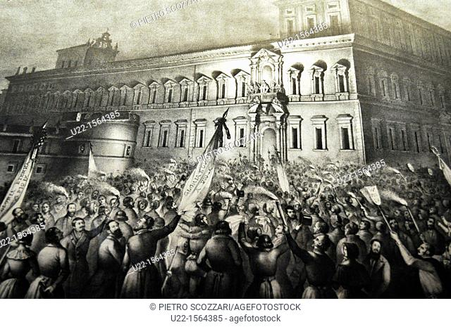 Bologna (Italy): old print depicting a scene of the Italian independence from Austria, displayed during an exhibition at Palazzo dell'Archiginnasio