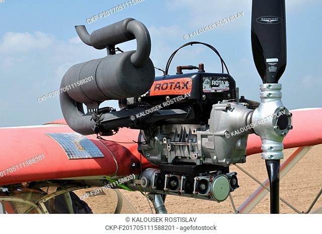 Rotax Aircraft Engine on Aircraft Wing, Czech Republic, 2017. (CTK Photo/Rostislav Kalousek)