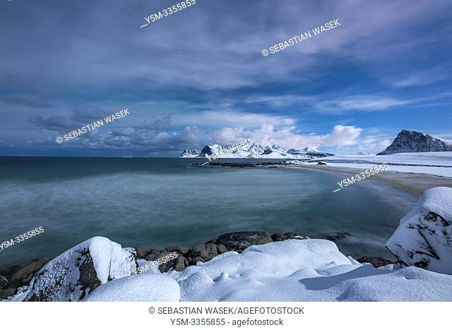 Storsandnes Beach in Moon Light, Myrland, Leknes, Lofoten, Norway, Europe