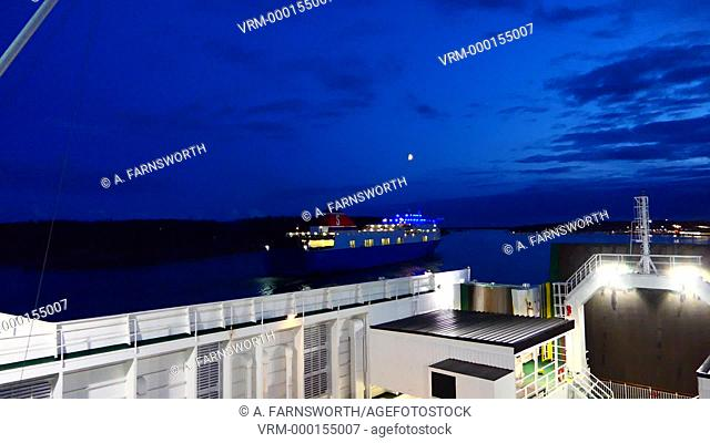 Nynäshamn, Sweden A baltic Sea car and passenger ferry leaving the dock